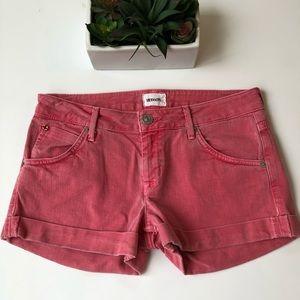 Hudson Hampton Cuffed Shorts Red Jean Sz 26